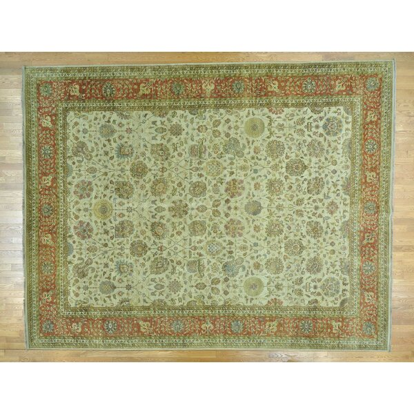 One-of-a-Kind Beason Antiqued Hand-Knotted Beige Wool Area Rug by Isabelline