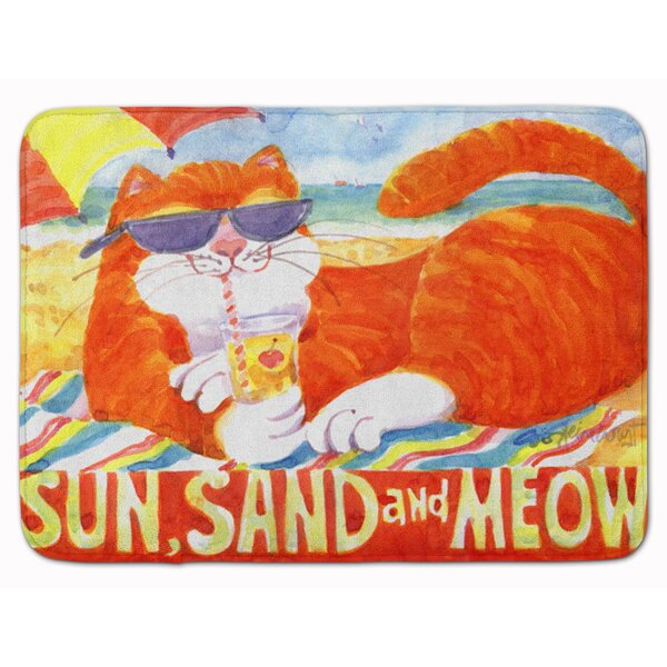 Tabby at the Beach Rectangle Microfiber Non-Slip Bath Rug