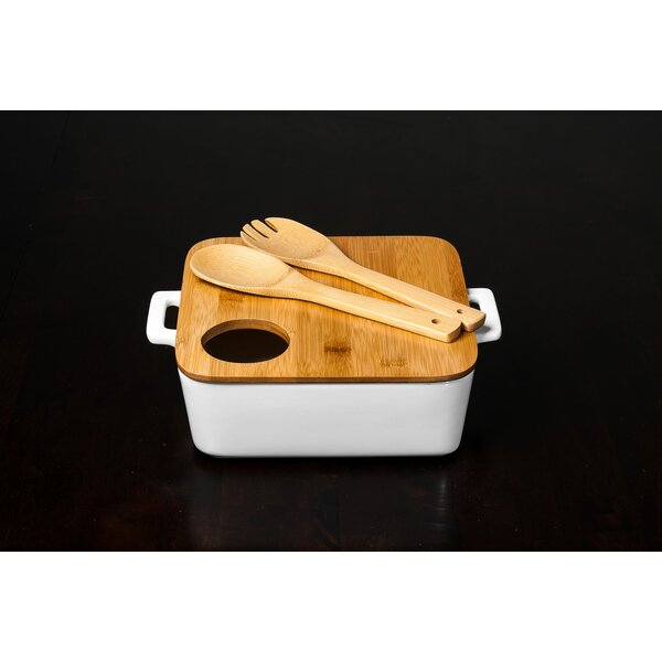 4 Piece Porcelain Bamboo Square Bowl Set by Imperial Home