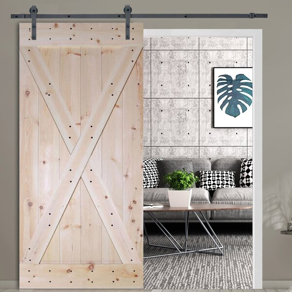 X-Panel Solid Room Divider Wood Slab Interior Barn Door by Calhome