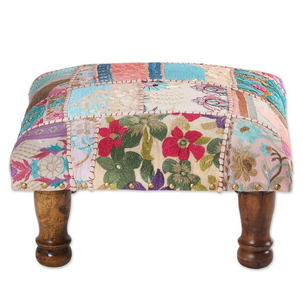 Antero Handmade Garden Recycling Patchwork Ottoman by World Menagerie
