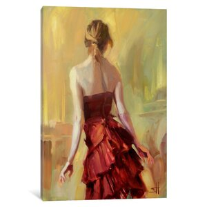 'Girl in a Copper Dress' Painting Print on Canvas by House of Hampton