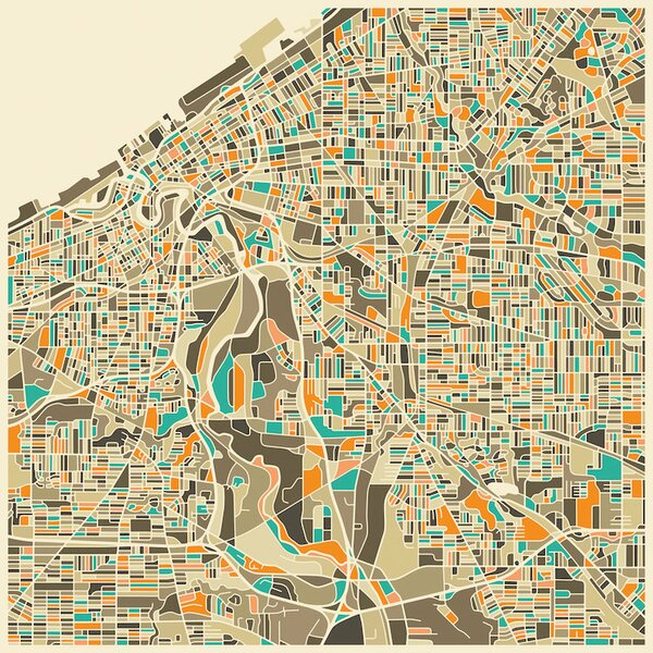 Abstract City Map of Cleveland Graphic Art on Wrapped Canvas by Langley Street