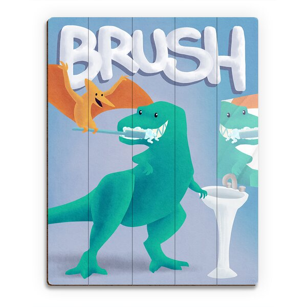 Wood Slats Brush Dinosaur Graphic Art on Plaque by Click Wall Art