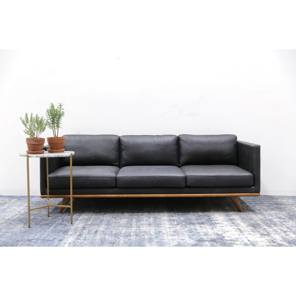 Discount Lang Leather Sofa by Union Rustic by Union Rustic