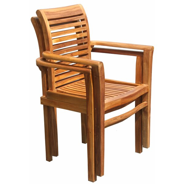 Wiener Stacking Teak Patio Dining Chair by Highland Dunes Highland Dunes