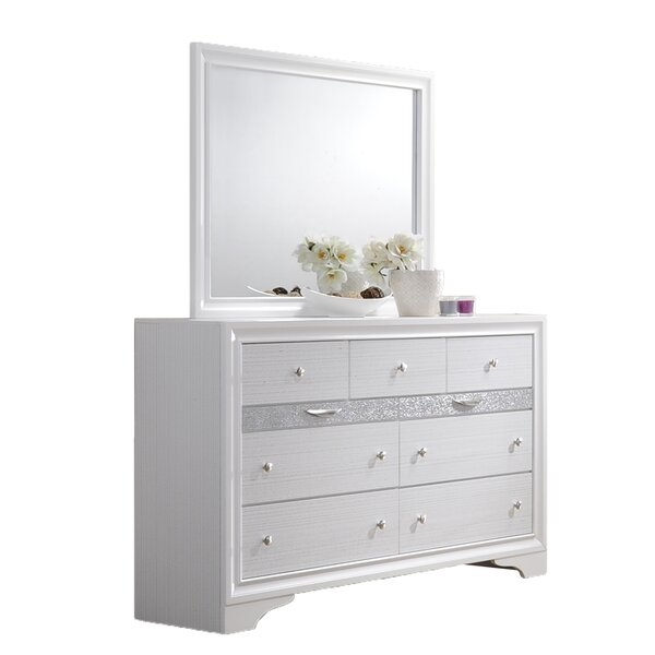 Smithey 9 Drawer Double Dresser with Mirror by House of Hampton
