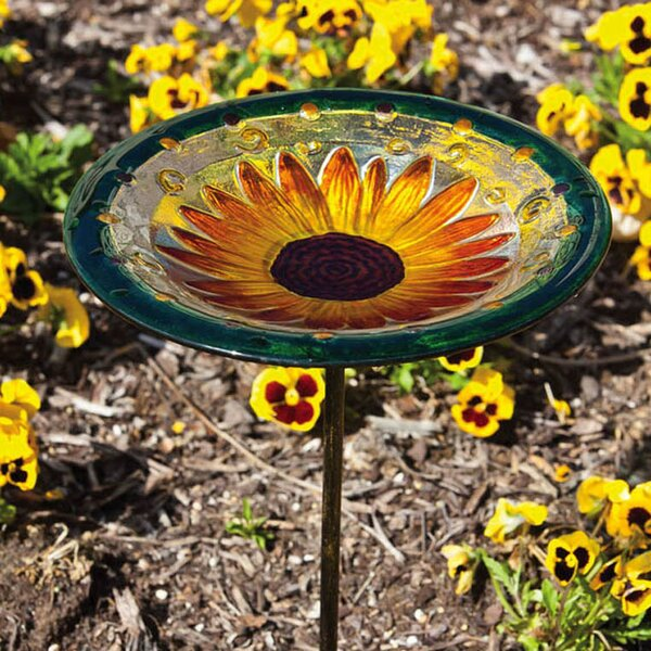 Sunflower Bloom Birdbath by Evergreen Flag & Garden