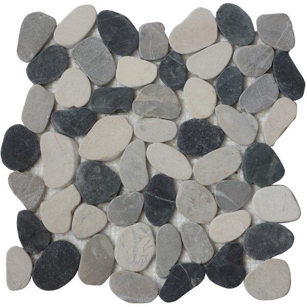 Quartz Random Sized Natural Stone Mosaic Tile in Black/Gray by FuStone