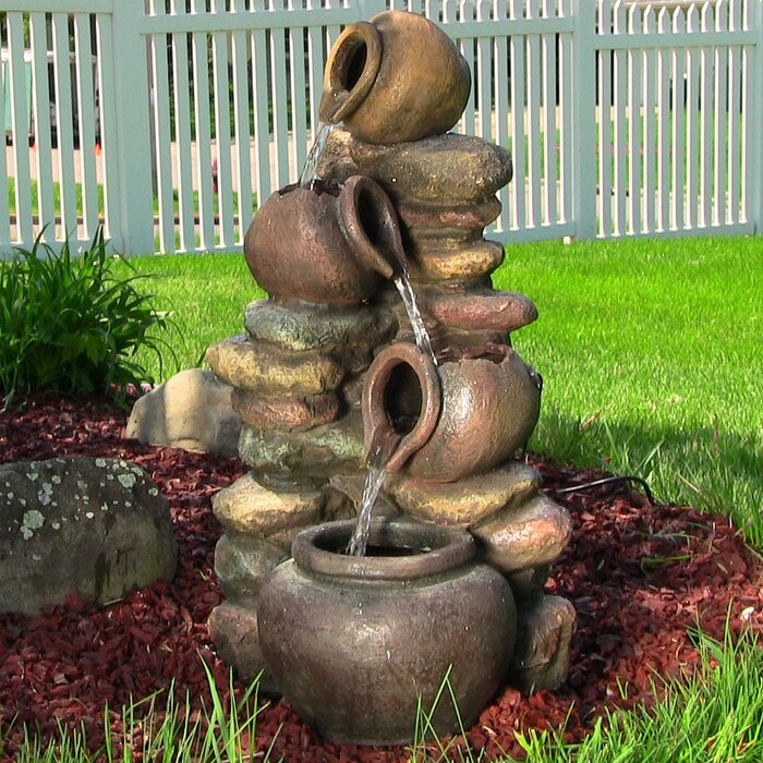Charmant Fibreglass Honey Pot With Stones Electric Water Fountain With Light