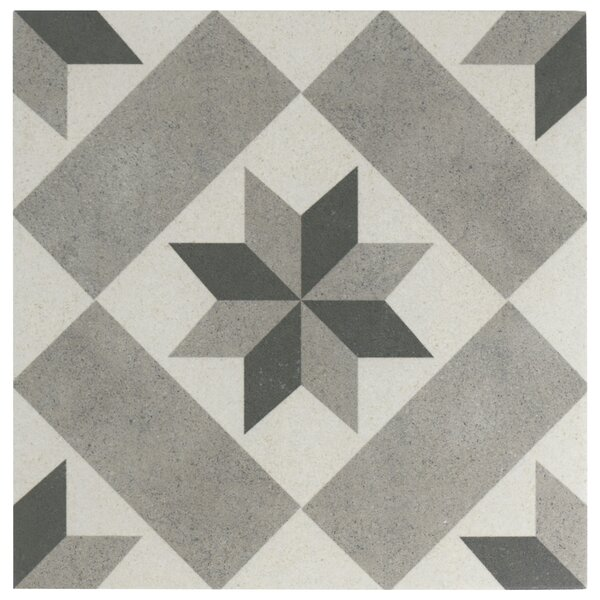 Annata Star 9.75 x 9.75 Porcelain Field Tile in Gray by EliteTile