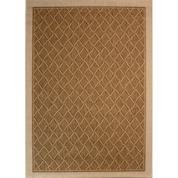 Samuel Diamond Maze Tan/Brown Indoor/Outdoor Area Rug by Bay Isle Home