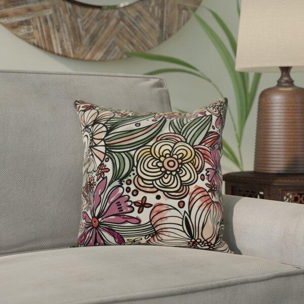 Natahsa Zentangle Floral Throw Pillow by Latitude Run