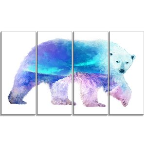 'Polar Bear Double Exposure Illustration' 4 Piece Graphic Art on Wrapped Canvas Set by Design Art
