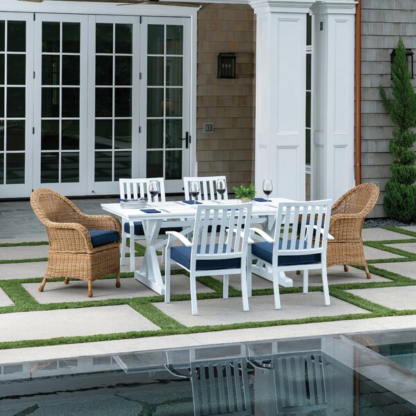 Kelsie 7 Piece Dining Set with Cushions by Longshore Tides