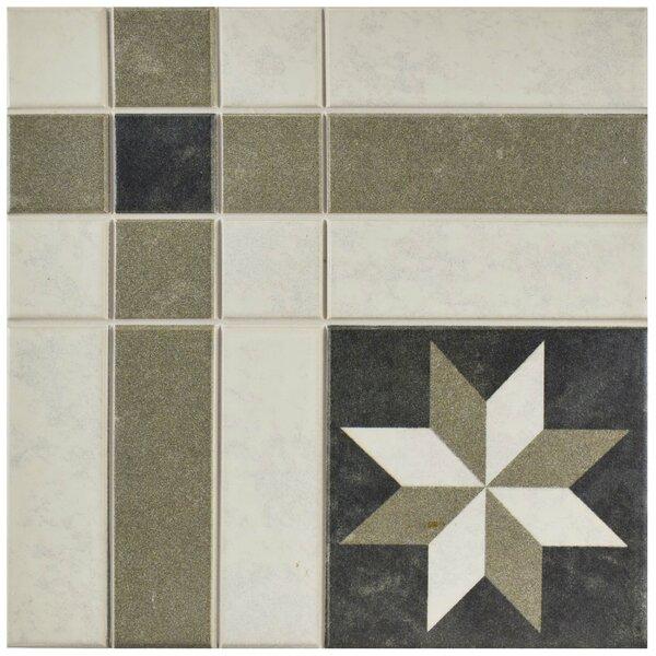 Cien 9.75 x 9.75 Porcelain Field Tile in Black/Tan by EliteTile