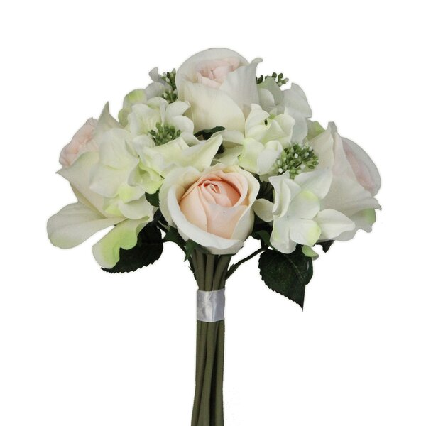 Artificial Mixed Bouquet Rose and Hydrangea Floral Arrangement by Ophelia & Co.