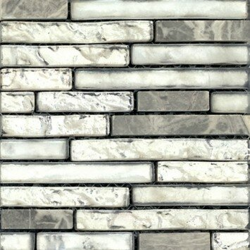 Vista 12 x 13 Glass Stone Blend Linear Mosaic Tile in Backdrop by Emser Tile