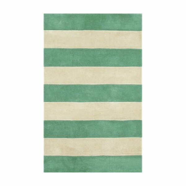 Beach Teal/Ivory Boardwalk Stripes Area Rug by American Home Rug Co.