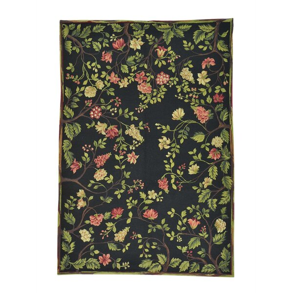 One-of-a-Kind Glenville Modern Botanical Oriental Hand-Knotted Black Area Rug by Charlton Home