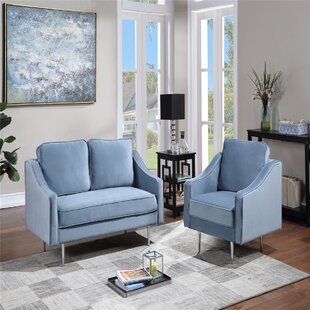 Sofa Set Morden Style Couch Furniture Upholstered Armchair+Loveseat ,For Home Or Office (1+2 Seat)-Blue by Ivy Bronx