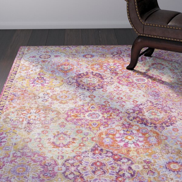 Kahina Vintage Distressed Oriental Rectangle Pink Area Rug by Bungalow Rose