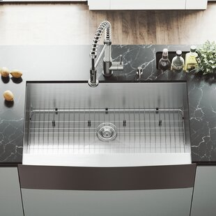 All in One 36 L x 22 W Farmhouse Kitchen Sink with Faucet, Grid, Strainer and Soap Dispenser By VIGO
