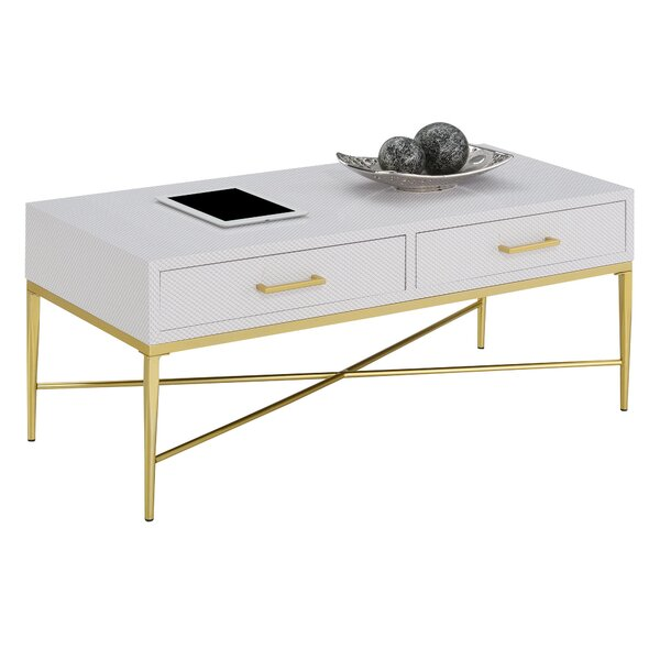 Heston Cross Legs Coffee Table With Storage By Everly Quinn