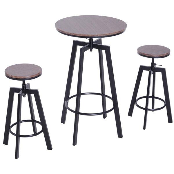 Unruh 3 Piece Adjustable Pub Table Set by Williston Forge Williston Forge