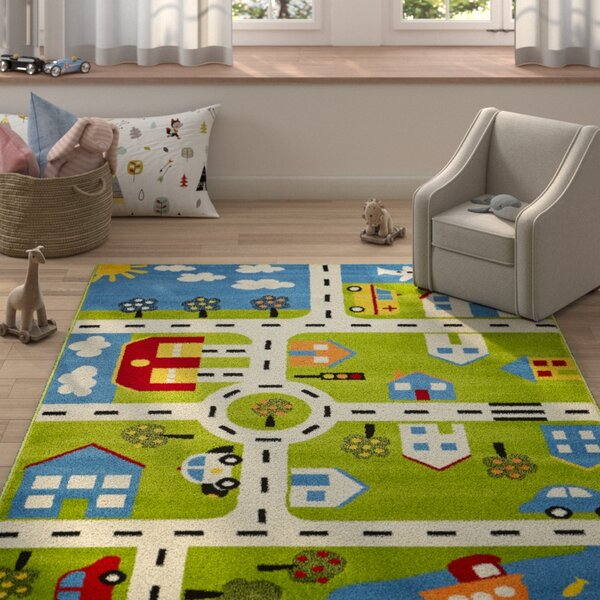 Gulf City Green/Blue Area Rug by Zoomie Kids