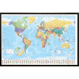 'World Map' Framed Graphic Art Print Poster by East Urban Home