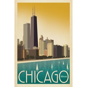 Art & Soul of America American Cities Collection: Chicago, Illinois (Skyline - Modern Style) Vintage Advertisement on... by East Urban Home