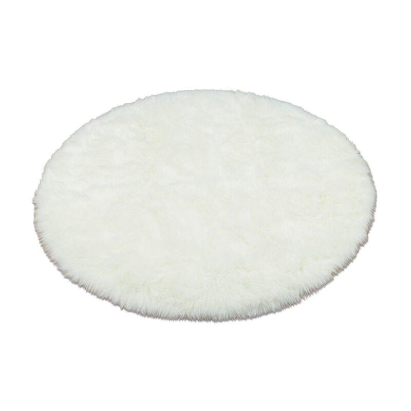 walk on me animal round white area rug & reviews | wayfair