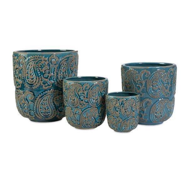 Corrin Paisley 4-Piece Ceramic Pot Planter Set by Bungalow Rose