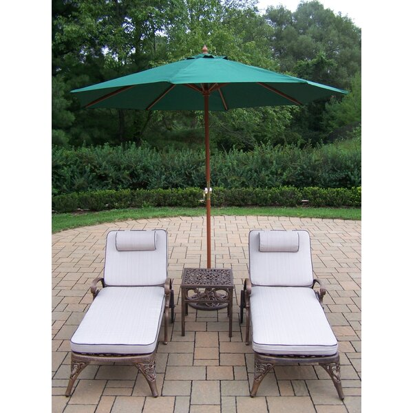 Mississippi Reclining Chaise Lounge Set with Cushions and Table by Oakland Living