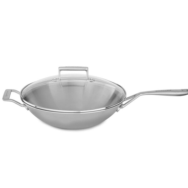 13 Tri-Ply Stainless Steel Wok with Lid - KC2T13 by KitchenAid