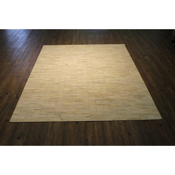 Manhasset Hand-Woven Cowhide Beige Area Rug by Gracie Oaks