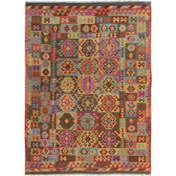 Rosalina Handmade-Kilim Wool Rectangle Red/Blue Geometric Area Rug by Bloomsbury Market