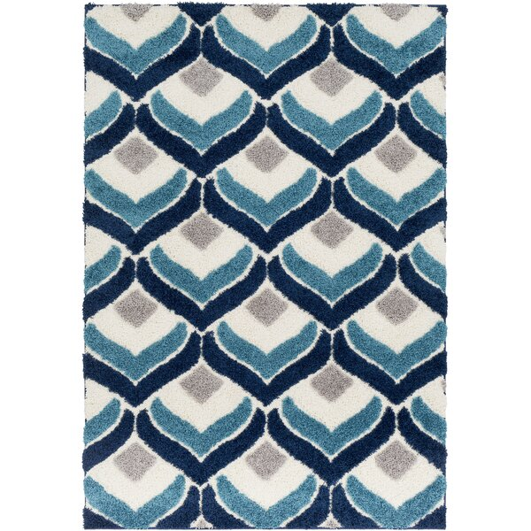 Quincy Soft Patterned Shag Blue/Gray Area Rug by Zipcode Design