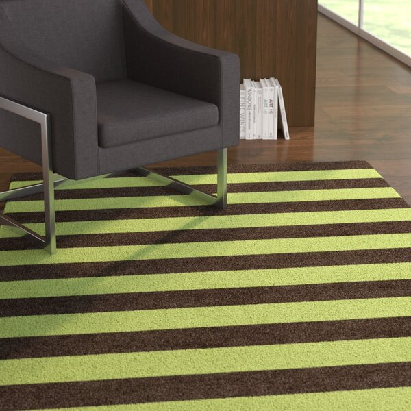 Suggs Stripe Hand-Tufted Wool Brown/Green Area Rug by Latitude Run