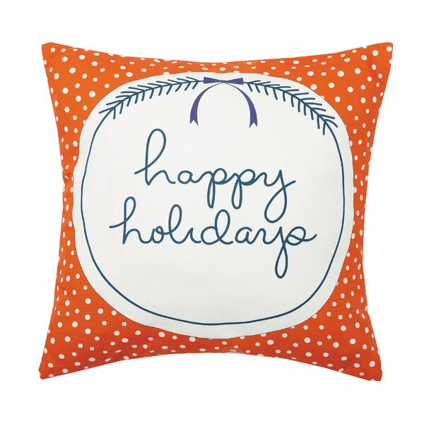 Clairview Happy Holidays Canvas Printed Cotton Throw Pillow by The Holiday Aisle