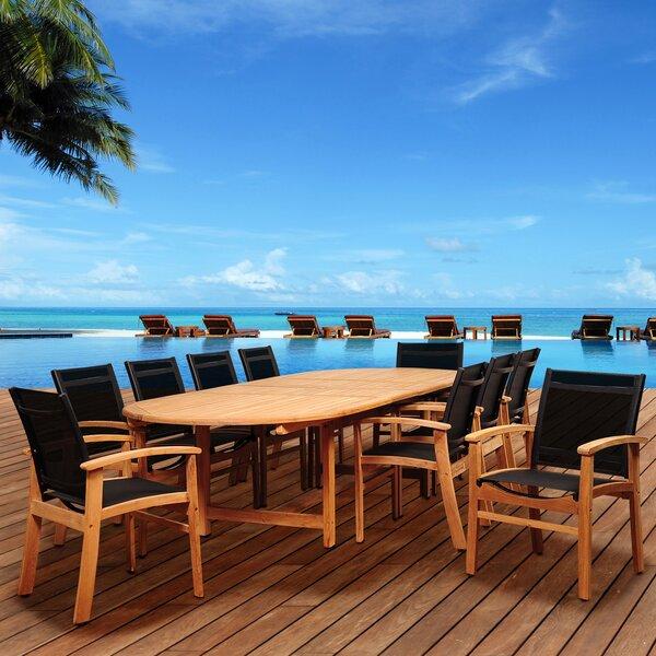 Trevor International Home Outdoor 11 Piece Teak Dining Set by Highland Dunes