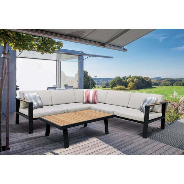 Lucian 4 Piece Teak Sectional Seating Group Set with Cushions by Wrought Studio
