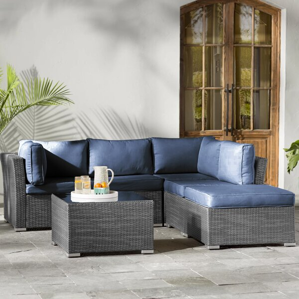 Janine 5 Piece Sectional Seating Group with Cushions by Beachcrest Home