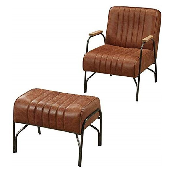 Taya Stitched Faux Leather Upholstered Metal Armchair And Ottoman By 17 Stories