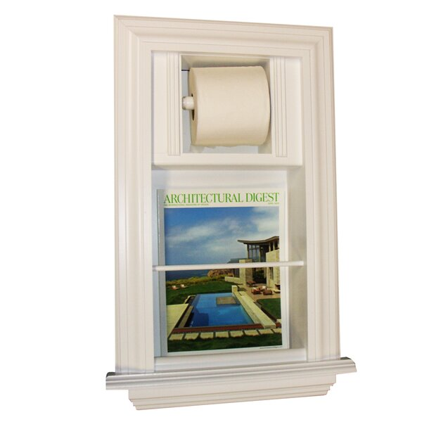 In The Wall Recessed Toilet Paper Holder with Magazine Rack by WG Wood Products