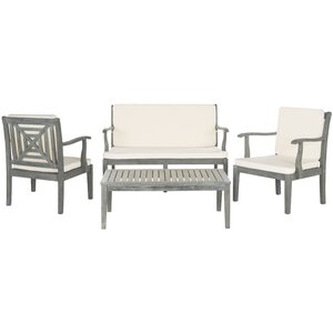 Tullia 4 Piece Lounge Seating Group with Cream Cushions