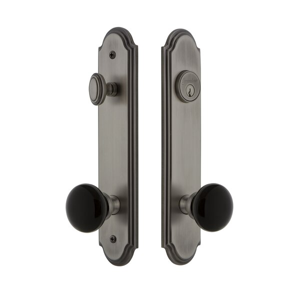 Arc Tall Plate Single Cylinder One Piece Knobset with Coventry Knob by Grandeur