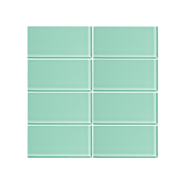 3 x 6 Glass Subway Tile in Fresh Mist (Set of 6) by Vicci Design