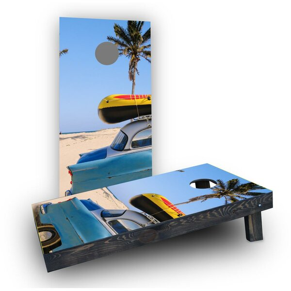 Beach Car Theme Cornhole Boards (Set of 2) by Custom Cornhole Boards